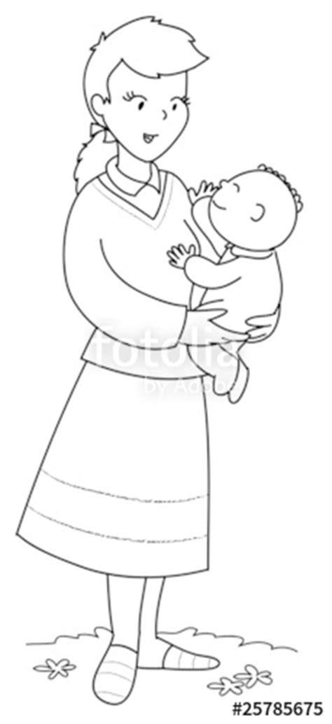 disegno stilizzato bambina con palloncino quot mamma con bambino piccolo in braccio da colorare