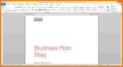 Microsoft Word Business Plan Template
