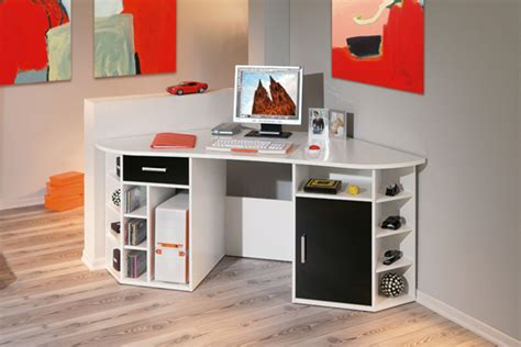 meuble de bureau d angle bureau d 39 angle fabri blanc noir