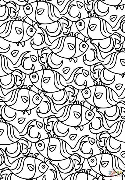 Coloring Pages Pattern Printable Fish Adult Adults
