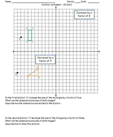 Dilation Worksheet Cc 8g3 By Math Monkey  Teachers Pay Teachers
