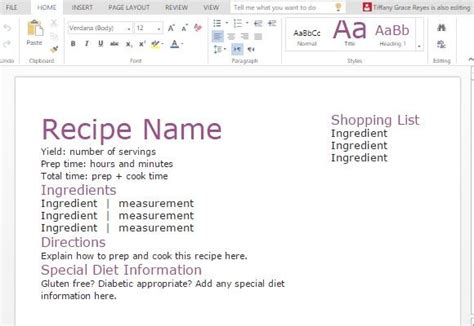 template for recipes in word recipe with shopping list template for word