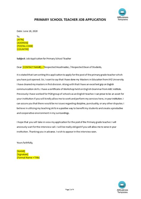 Tailor your letter to a summer job. Job Application Letter Primary School Teacher | Templates ...