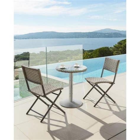 table exterieur pas cher table bistro exterieur ronde libertad sepia hesperide achat vente table de jardin en plastique
