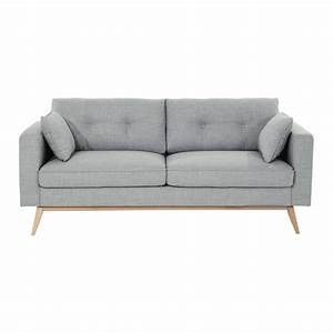 Canape 3 places en tissu gris clair brooke maisons du monde for Canapé 3 places pour idée déco tableau salon