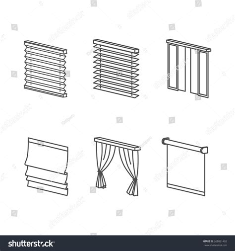 curtain types roll blind louvers jalousie stock vector