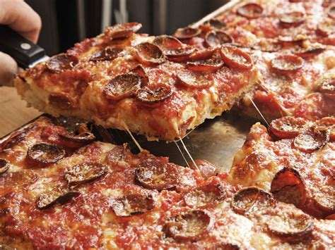 Sicilian Pizza With Pepperoni and Spicy Tomato Sauce ...