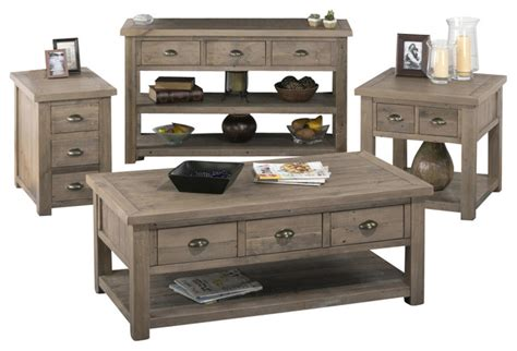 Jofran 940 1 4 Piece Reclaimed Pine Coffee Table Set   Contemporary   Coffee Table Sets   by