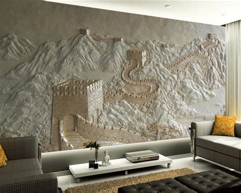 beibehang custom wallpaper great wall relief chinese tv