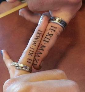 30 cute roman numeral tattoos hative for Wedding ring tattoos cost