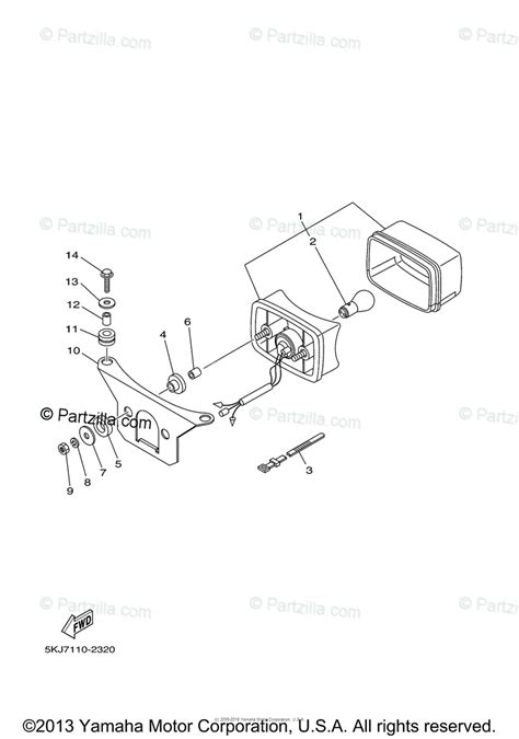 Yamaha Atv Oem Parts Diagram For Taillight