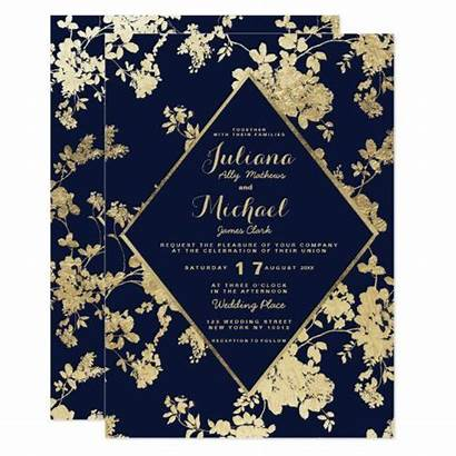 Invitation Navy Invitations Floral Elegant Zazzle Faux