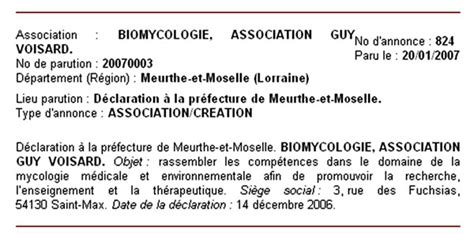declaration bureau association prefecture biomycologie