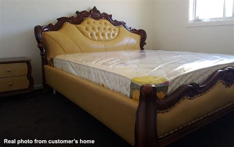 super luxury classic style king size leather bed