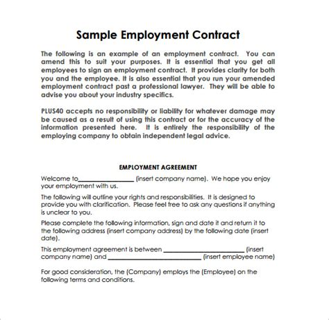 job contract templates pages word docs
