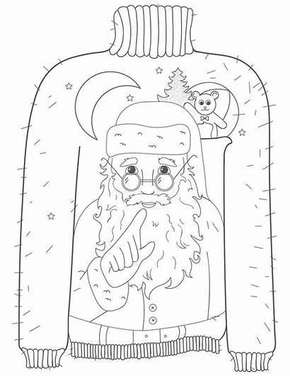 Coloring Sweater Ugly Detailed Santa Printable Sheet