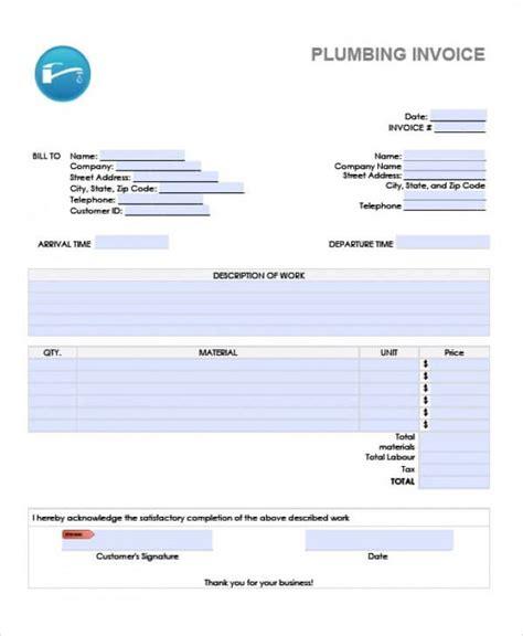 sample plumbing invoice templates   excel