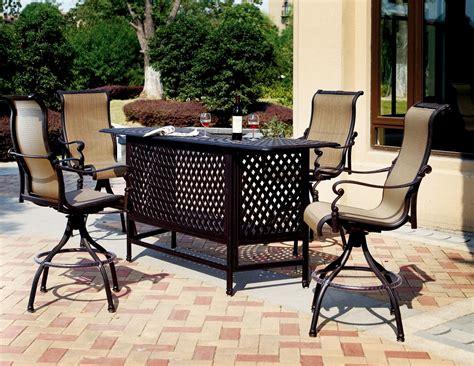 patio furniture bar set cast aluminum 5pc monterey