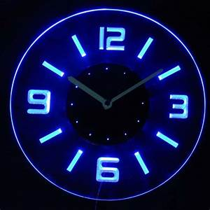 Cnc2001 b round numerals illuminated wall neon clock sign for Neon light wall clock