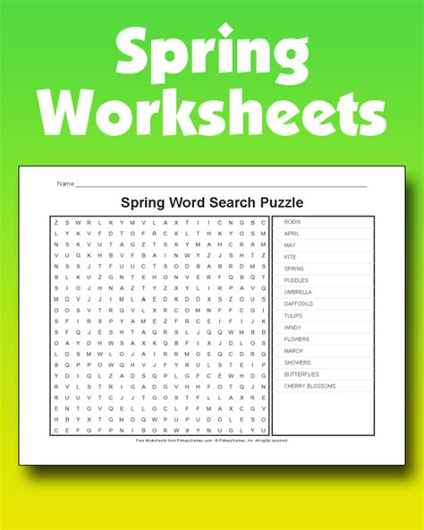spring worksheets primarygames play   games