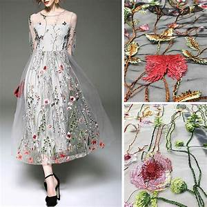 2017 spring summer hot selling 51 inch 1 yard polyester for Floral embroidered wedding dress