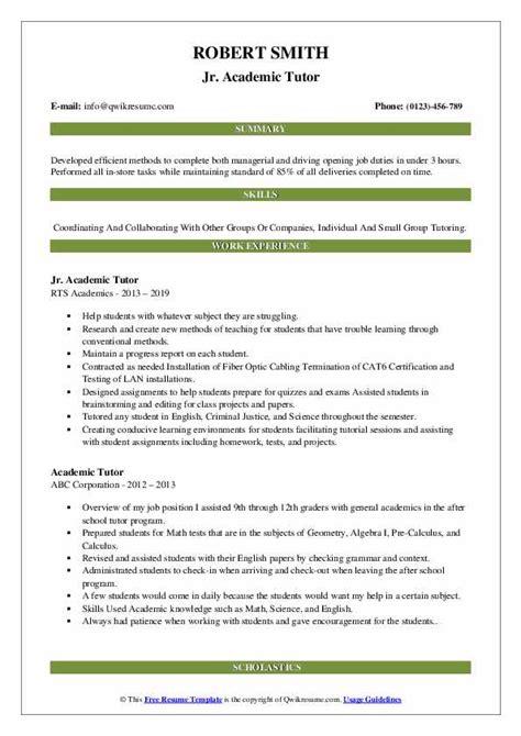 academic tutor resume samples qwikresume