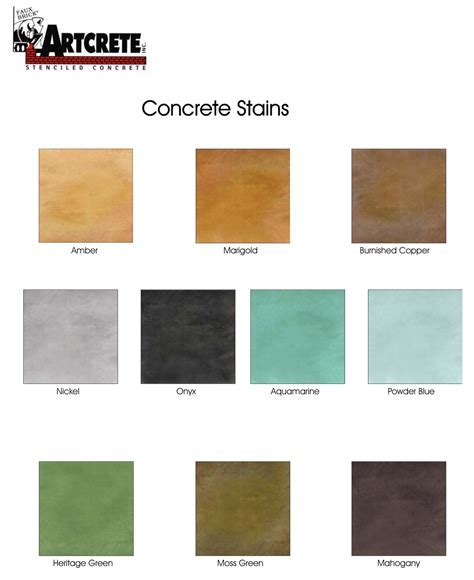 Artcrete Acid Stain Color Chart   Diamond Kote Decorative