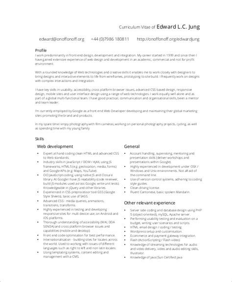 sample web developer resume  examples  word