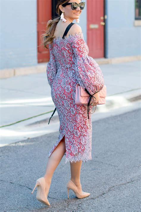 pink lace balloon sleeve midi dress style vestidos