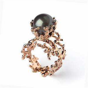 rose coral tahitian pearl ring black pearl engagement ring With tahitian pearl wedding rings