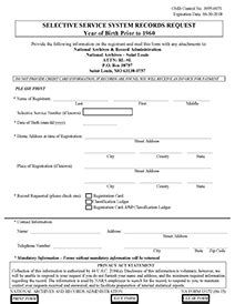 selective service system registration form forms