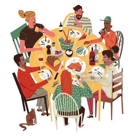 dinner with friends illustration by drew bardana