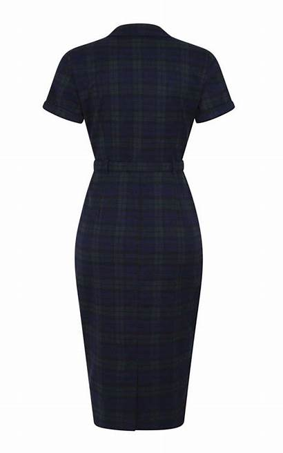 Collectif Caterina Pencil Skirt Kleid Blackwatch Check