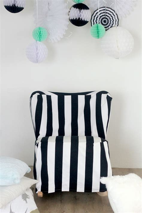 a striped slipcovered chair