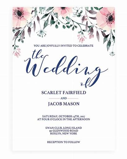 Template Invitations Floral Watercolor Spring Garden Templates