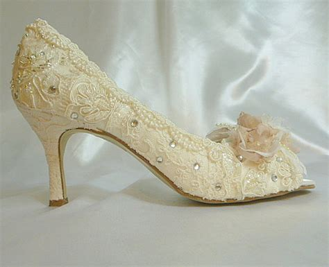 shabby chic wedding shoes low heel wedding shoes vintage lace shoes blush and ivory lacy rose bridal shoes low