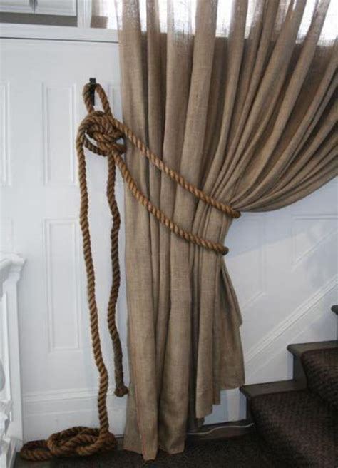 picture of curtains made out of burlap paired with jute cords