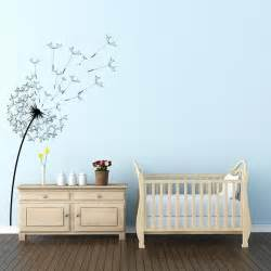White And Grey Nursery by Blowing Dandelion Flower Wall Decal Wall Decal World