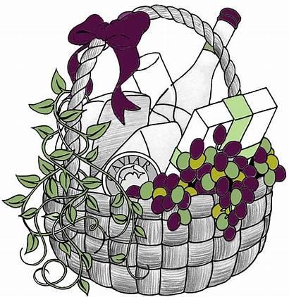 Basket Gift Clip Baskets Clipart Raffle Wine