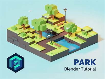 Tutorial Park Poly Blender Low Lowpoly Isometric