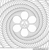 Coloring Spiral Flower Power Peace Printable Patterns Adult Adults Colouring Spirals Mandala Optical Illusion Illusions Mandalas Transparent Version Paste Eat sketch template