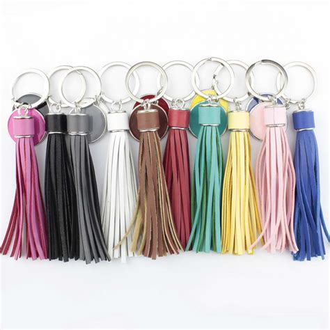 fashion silver  monogram pompom pu leather tassel keychain bag charms key ring personalized