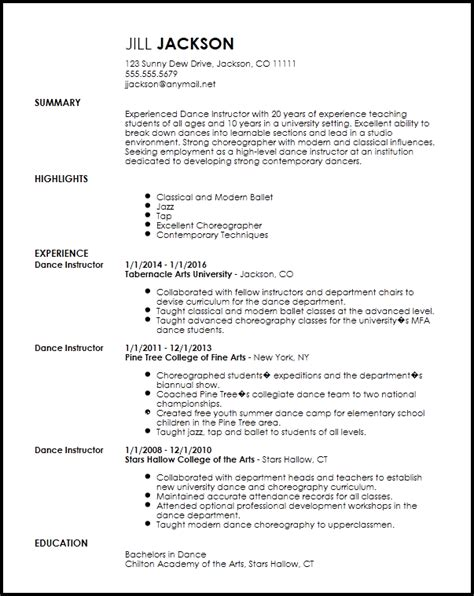 Create Free Resume Now by Free Professional Dancer Resume Template Resume Now