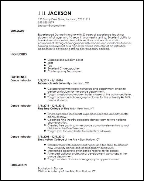 20203 sle resume templates word dancer resume template 28 images free sle dancer