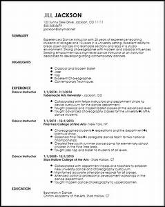 free professional dancer resume template resumenow With dance resume template