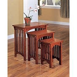 mission style oak nesting  tables set