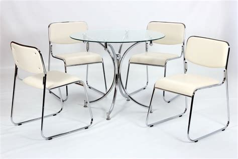 modern small round glass dining table and 4 chairs
