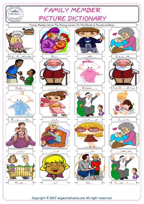 family member esl printable english vocabulary worksheets