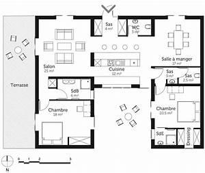 plan maison 120 m2 avec 3 pieces ooreka With plan maison entree sud 3 plan maison moderne en u ooreka