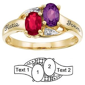 Inseparable Rings inseparable ring with 2 genuine birthstones in 14kt yellow